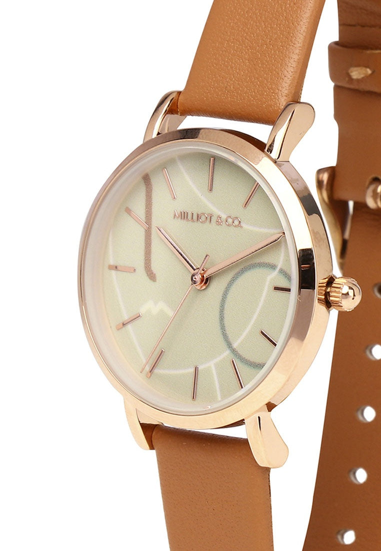 Dazzle Rose Gold Leather Strap Watch (Chestnut)
