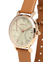 Load image into Gallery viewer, Dazzle Rose Gold Leather Strap Watch (Chestnut)