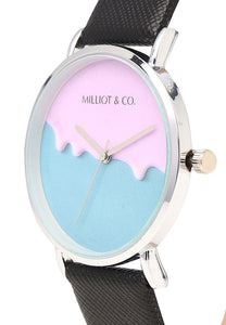 Effie Silver Leather Strap Watch (Black)