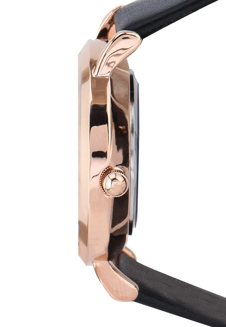 Evelyn Rose Gold Leather Strap Watch (Black)