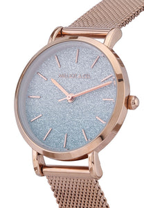 Evelyn Rose Gold Mesh Strap Watch (Salmon)
