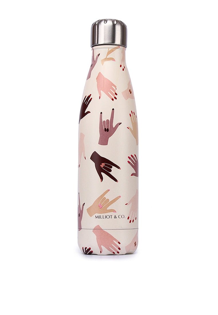 Hand-up Vacuum Insulated Stainless Steel Thermal Water Bottle (Nude)