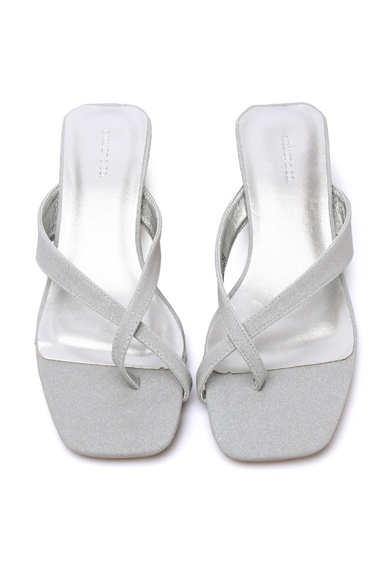Kingdom Square Toe Wedge Shoes (Silver)