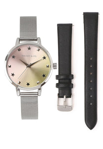 Lavender Watch With 2 Straps (Silver/Black)