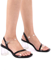 Leanora Open Toe Heels (Black)