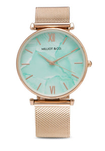 Madison Rose Gold Mesh Strap Watch (Salmon)