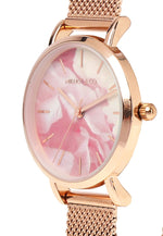Load image into Gallery viewer, Rosie Rose Gold Mesh Strap Watch (Salmon)