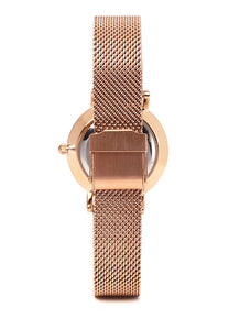 Rosie Rose Gold Mesh Strap Watch (Salmon)