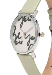 Ruby Silver Leather Strap Watch (Lawn Green)