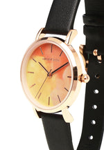 Load image into Gallery viewer, Tilly Rose Gold Leather Strap Watch (Black)