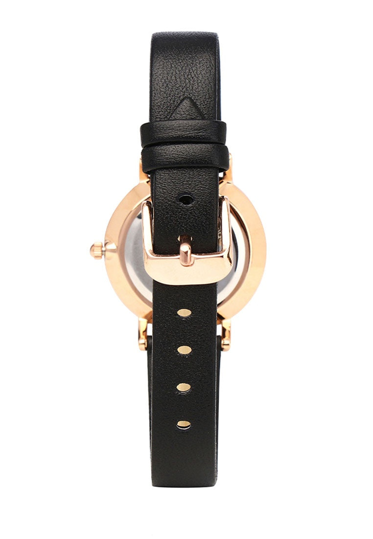 Tilly Rose Gold Leather Strap Watch (Black)
