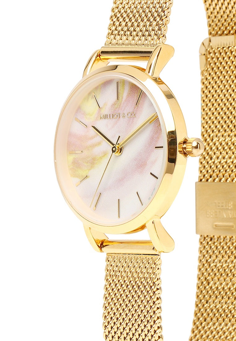 Twinkle Gold Mesh Strap Watch (Gold)