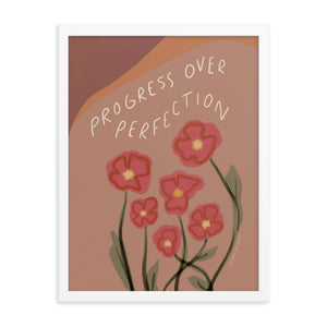 "Framed Print: ""Progress Over Perfection"" Quote"