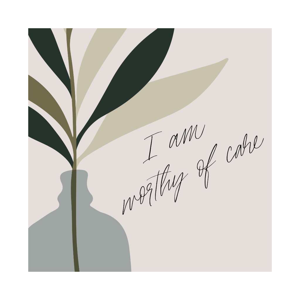 "Framed Print: Wellness Quote (""I am worthy of care"")"