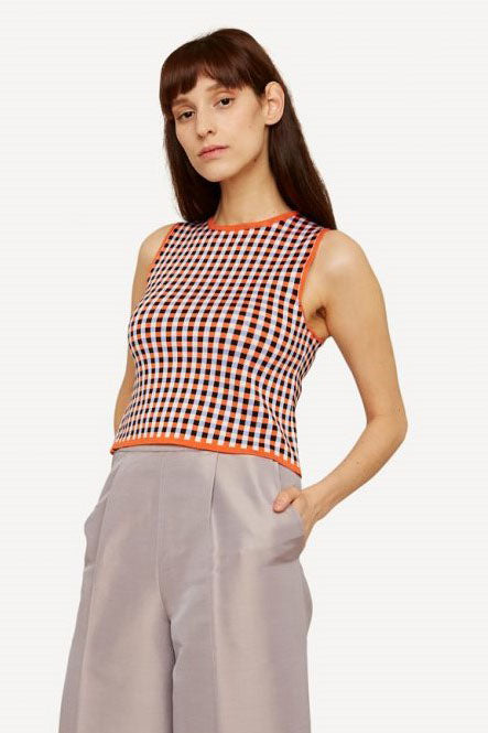 Oleana - Gingham Graph Top