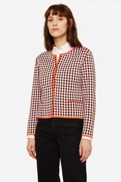 Oleana - Gingham Graph Cardigan