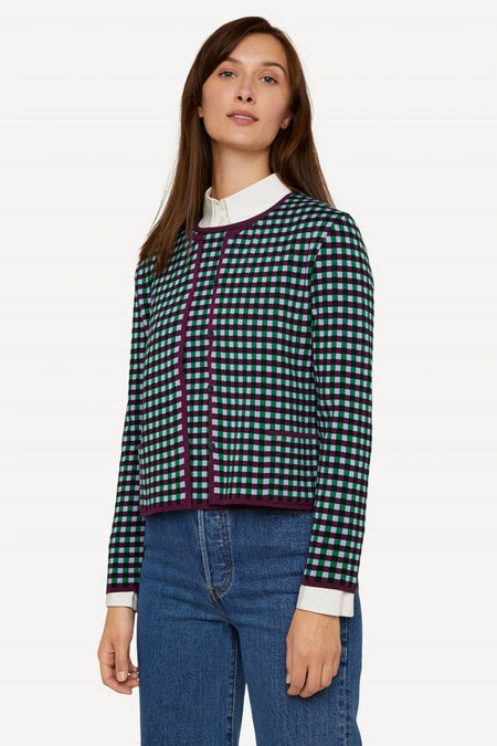 Oleana - 522 Gingham Graph Cardigan