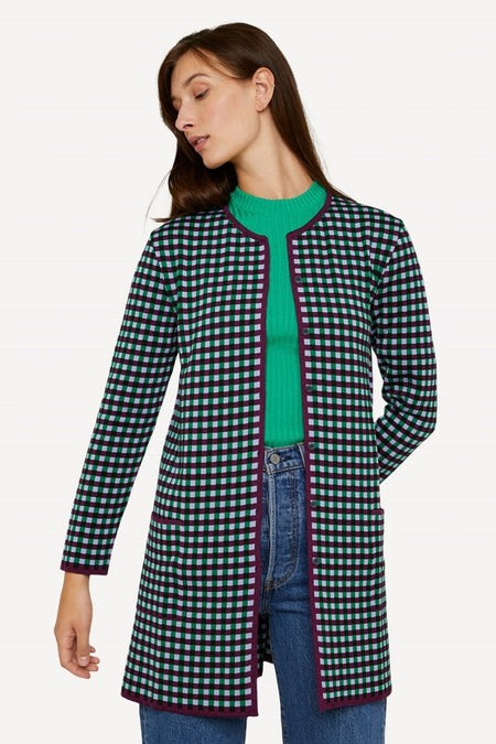 Oleana - 523 Gingham Graph Long Jacket