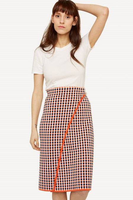 Oleana - Gingham Graph Wrap Skirt
