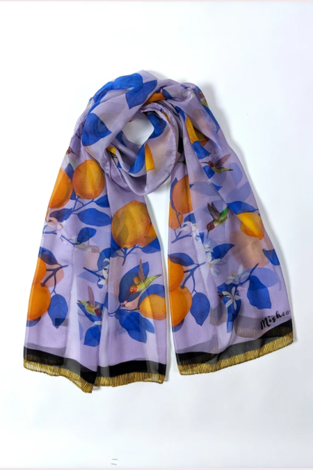 Misheo -  Purple Hummingbirds and Lemon Chiffon Scarf