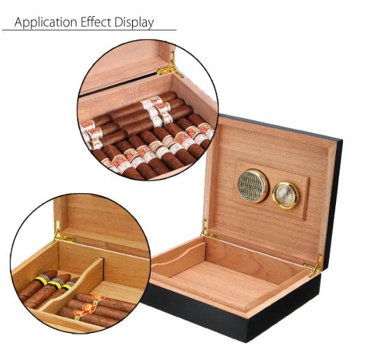 Black Cedar Wood Lined Cigar Storage Box Humidor Humidifier Case with Hygrometer