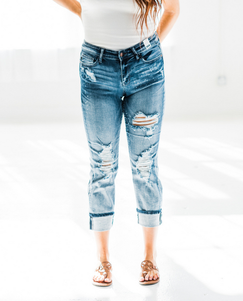 Destroyed Judy Blue Boyfriend Jeans