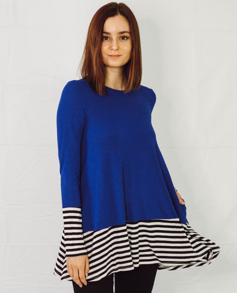 Long Sleeve Stripe & Solid Contrast Top - SunPorch Boutique