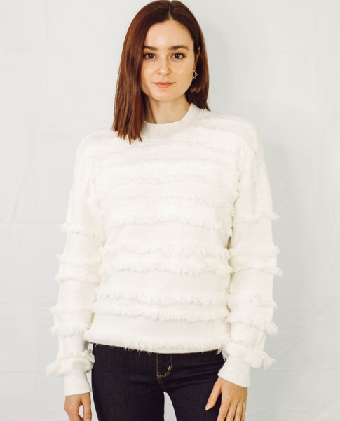 Fringe Eyelash Stripe Sweater - SunPorch Boutique