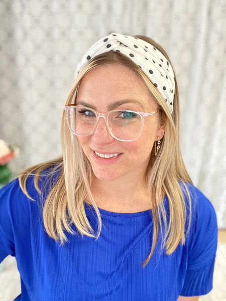 Polka Dotted Fun Headband in White