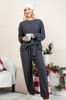 Warm for the Winter Lounge Top in Charcoal - SunPorch Boutique