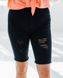 Total Eclipse Distressed Denim Shorts