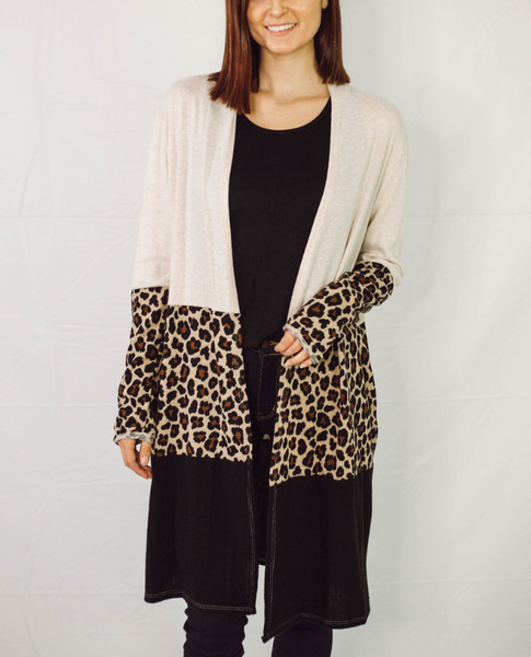 Relaxed Fit Leopard Color Block Long Cardigan - SunPorch Boutique