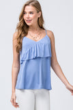 The Feminine Ruffle Tank in Denim