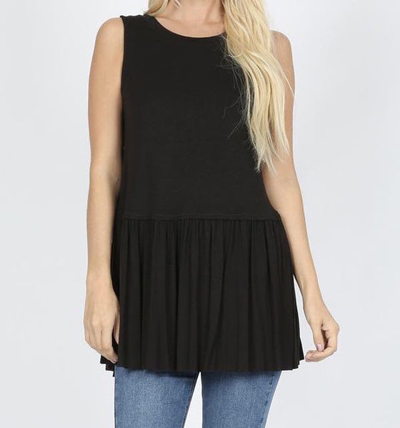 Ruffle Your Style Tank in Black