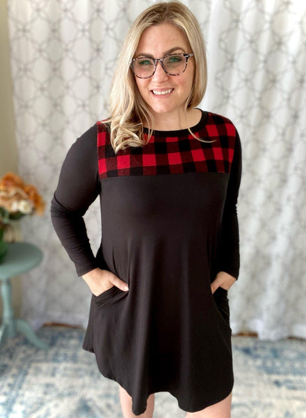 Perfectly You Plaid Dress in Red - SunPorch Boutique