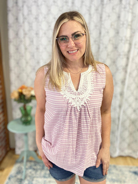 A Delicate Lace Tank in Pink - SunPorch Boutique