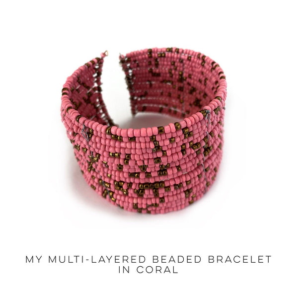 My Multi Layered Beaded Bracelet in Coral - SunPorch Boutique