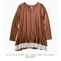 A Little Hint of Lace Top in Light Brown - SunPorch Boutique