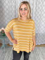 Honey colored, relaxed fit striped top for casual wear.