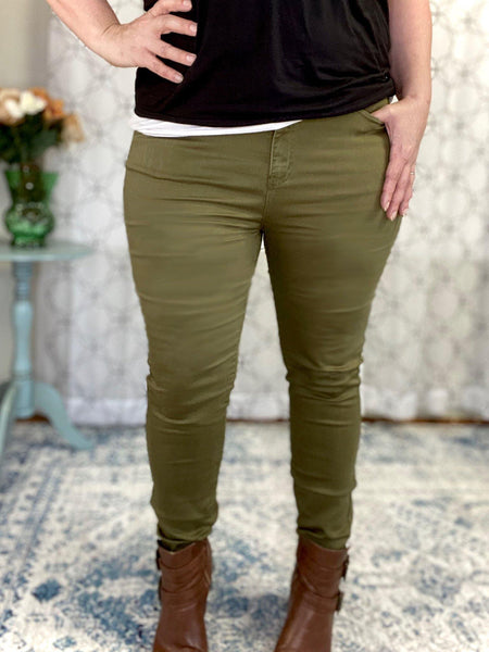 Yours Truly Olive Judy Blue Skinny Jeans - SunPorch Boutique