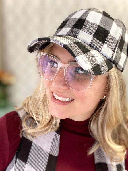 The Perfect Buffalo Plaid Hat in White - SunPorch Boutique
