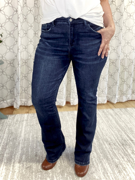 Judy Blue dark wash bootcut jeans.