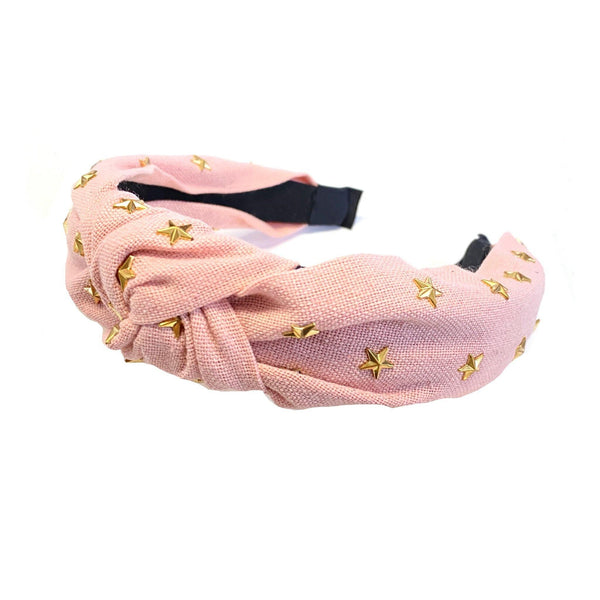 The Gold Star Top Knot Headband in Blush - SunPorch Boutique