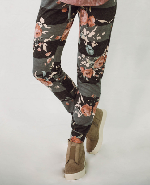Stripe and Floral Joggers - SunPorch Boutique