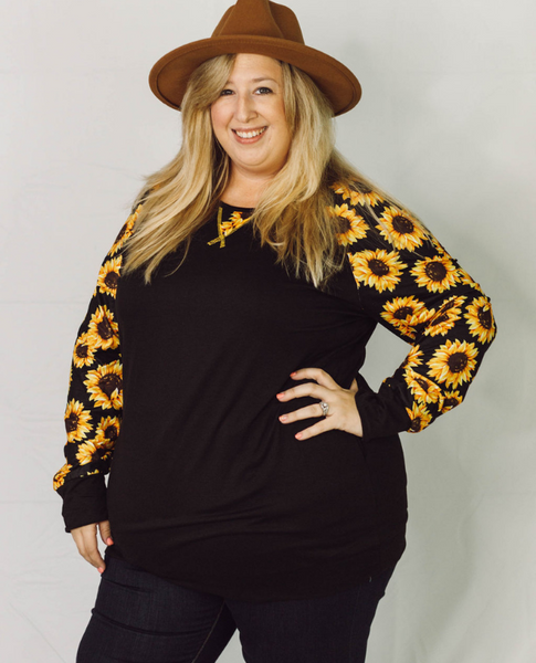 Sweet Sunflower Long Sleeve Raglan Tee - SunPorch Boutique