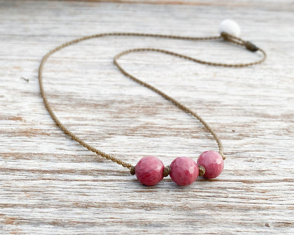 Tula Rose Rhodonite Triple Knotted Necklace 18""