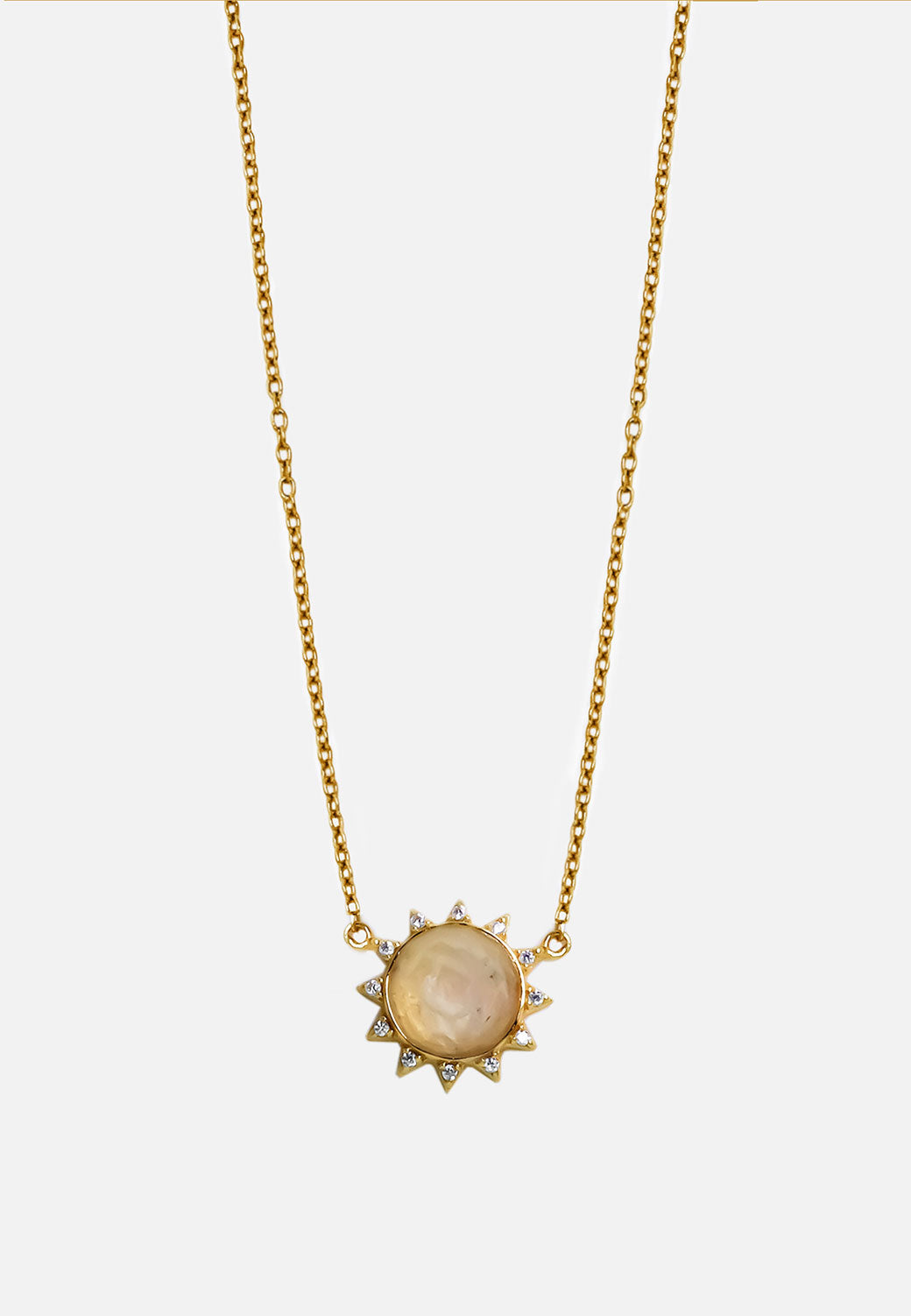 Soleil White CZ and Moonstone Necklace