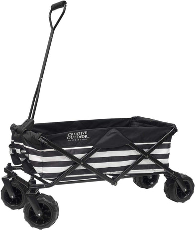 All-Terrain Collapsible Folding Wagon | Black/White Striped