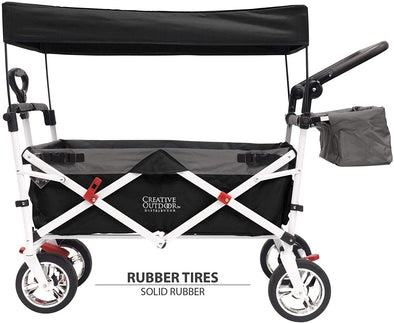 Creative Outdoor Push Pull Collapsible Folding Wagon Stroller Cart  | Black