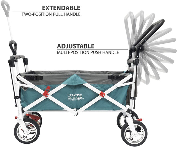 Creative Outdoors Push Pull Collapsible Folding Wagon| Teal
